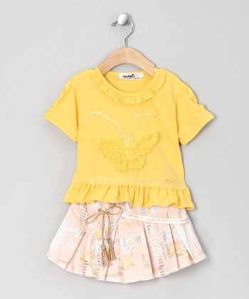Yellow Butterfly Tee & Skirt - Infant & Toddler
