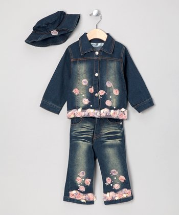 Dark Denim Rosette Jacket Set - Infant & Toddler