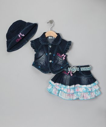 Aqua Denim Tiered Skirt Set - Infant & Toddler