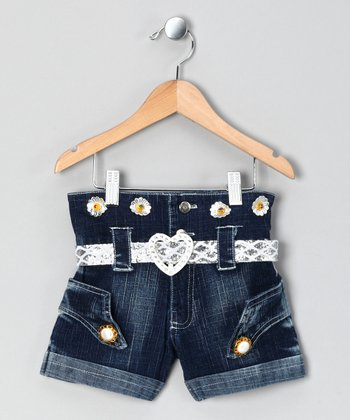 Silver & Denim Daisy Shorts - Toddler & Girls