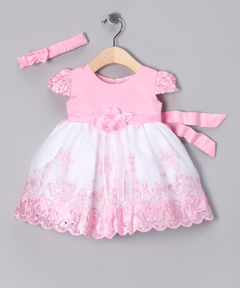 Light Pink & White Dress & Headband - Infant
