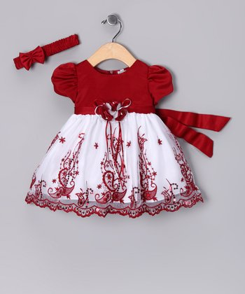 Red & White Paisley Dress & Headband - Infant