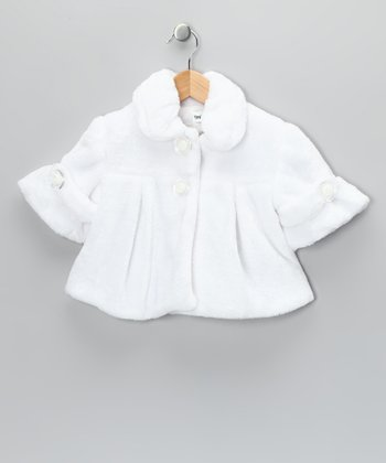White Faux Fur Pleated Coat - Toddler & Girls