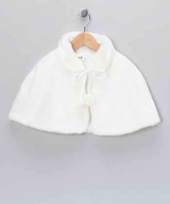 White Faux Fur Cape - Toddler & Girls
