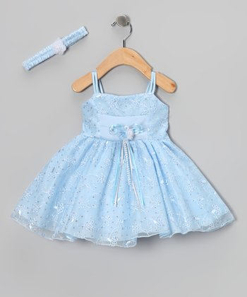 Blue Flower Embroidered Dress & Headband - Infant