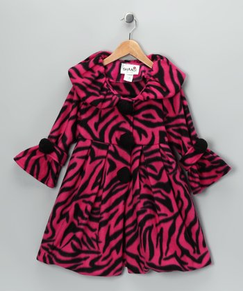 Fuchsia Tiger Stripe Fleece Coat - Toddler & Girls
