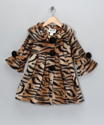 Natural Tiger Stripe Fleece Coat - Toddler & Girls