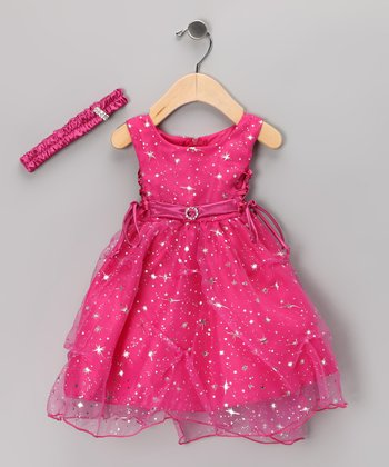 Fuchsia Star Dress & Headband - Infant & Toddler