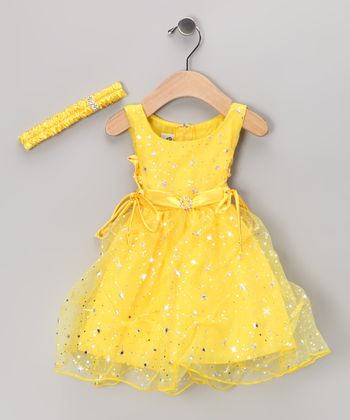 Yellow Star Tulle Dress & Headband - Infant & Toddler