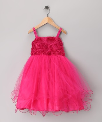 Fuchsia Rosette Tulle Dress - Toddler