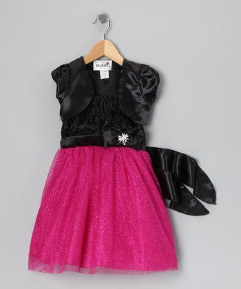 Fuchsia Rosette Glitter Dress & Shrug - Toddler & Girls