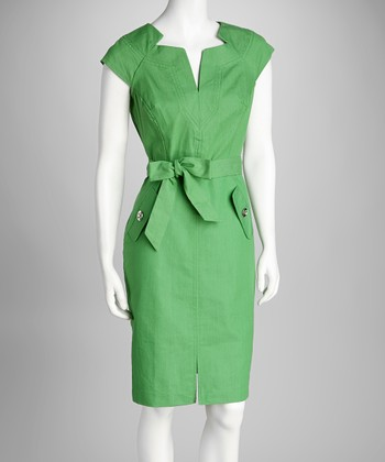 Apple Belted Sheath Dress