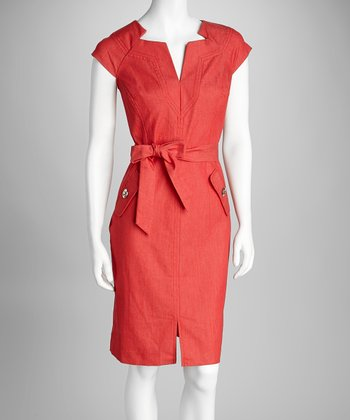 Red Belted Sheath Dress
