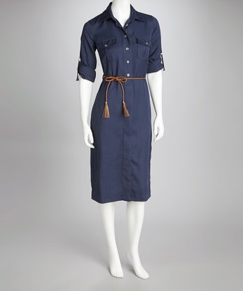 Sharagano Navy Midi Shirt Dress