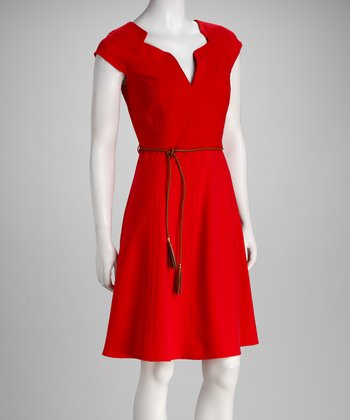 Hot Red Tie-Waist Dress