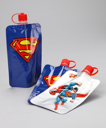 Superman Action Kids' 7.5-Oz. Foldable Bottle - Set of Three