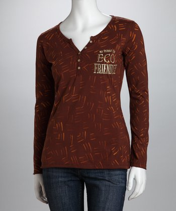Brown 'My Friends are Eco Friendly' Organic Henley - Women