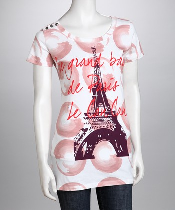 White Eiffel Tower Organic Tee - Women
