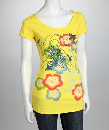 Yellow & Pink Dragon Organic Tee - Women