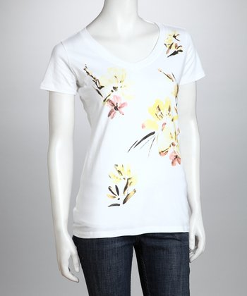 White & Yellow Floral Organic Top