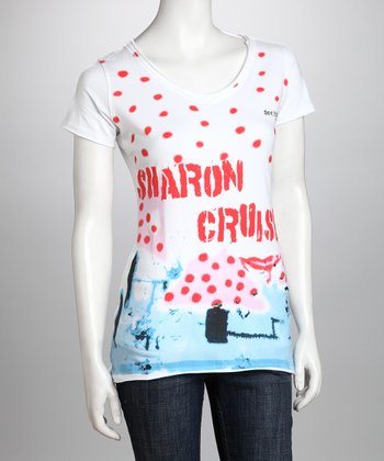 White 'Sharon Cruise' Organic Tee - Women