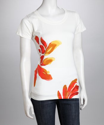 White & Red Fern Organic Tee