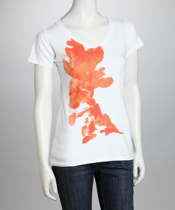 White & Orange Flower Organic Tee - Women