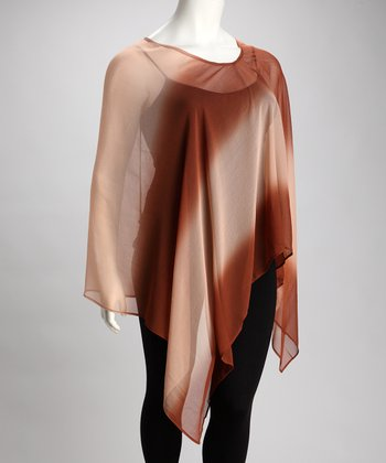Copper & Tan Ombré Poncho - Plus