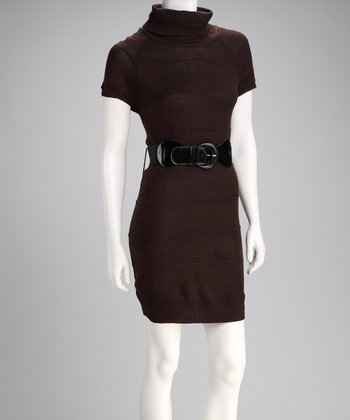 Brown Cap-Sleeve Belted Sweater Dress