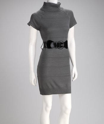 Gray Cap-Sleeve Belted Sweater Dress