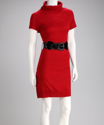 Red Cap-Sleeve Belted Sweater Dress