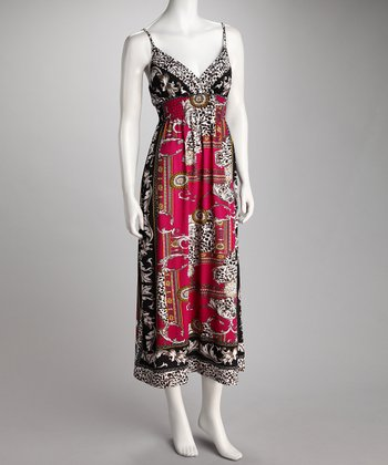 Fuchsia & Black Cheetah Surplice Maxi Dress