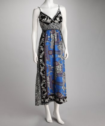 Royal Blue & Black Cheetah Surplice Maxi Dress