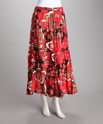 Raspberry Funky Blossom Tiered Skirt