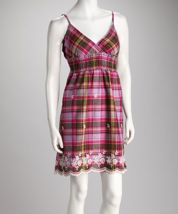 Fuchsia & Olive Plaid Lace Surplice Dress