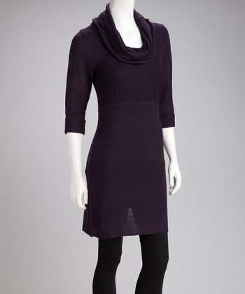 Purple Cowl Neck Sweater Dress