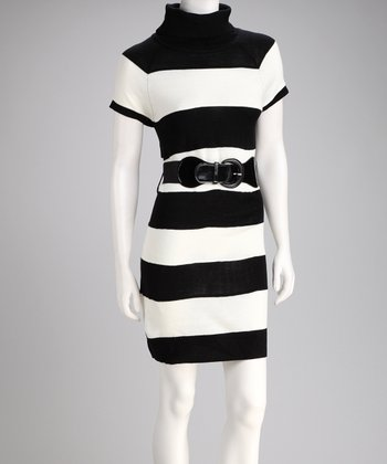 Cream & Black Stripe Belted Sweater Dress