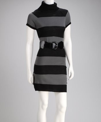 Gray & Black Stripe Belted Sweater Dress