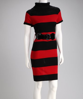 Red & Black Stripe Belted Sweater Dress