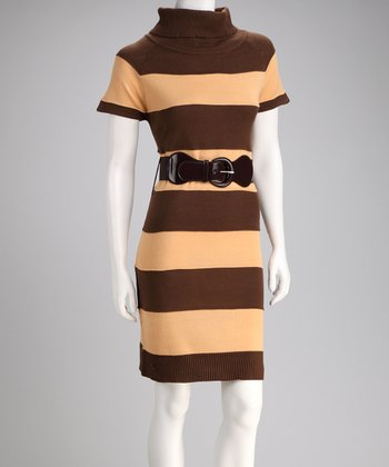Sand & Hazelnut Stripe Belted Sweater Dress
