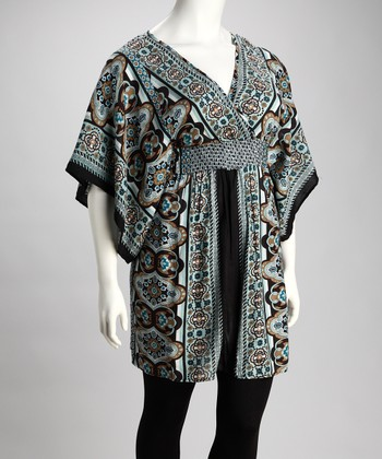 Blue & Brown Safari Surplice Tunic - Plus