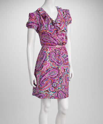 Pink & Purple Paisley Ruffle Belted Dress