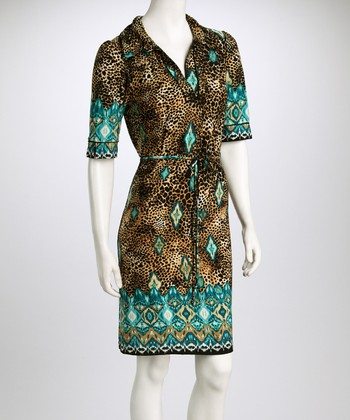 Turquoise & Gold Tribal Leopard V-Neck Dress