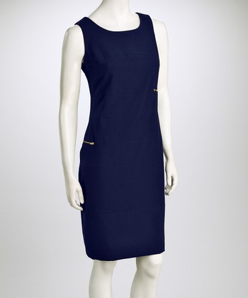 Navy Zipper Bandage Dress
