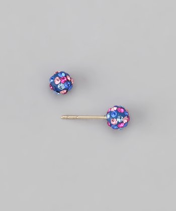 10k Blue Crystal Ball Stud Earrings