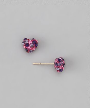 Fuzion Creations Pink Crystal Heart Stud Earrings