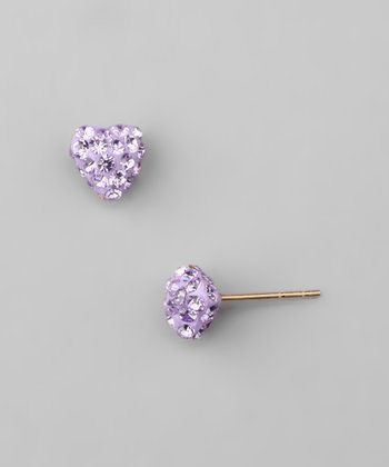 Violet Crystal & Gold Heart Earrings