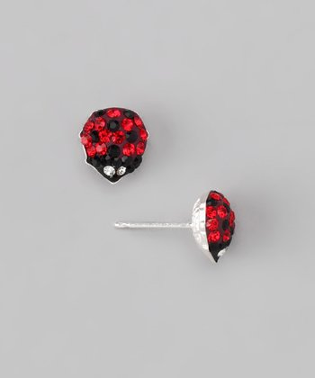 Red Crystal & Sterling Silver Ladybug Earrings