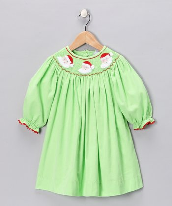 Lime Santa Smocked Dress - Infant, Toddler & Girls