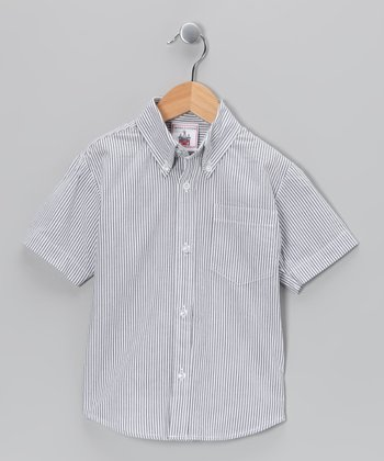 Dark Blue Seersucker Button-Up - Infant, Toddler & Boys